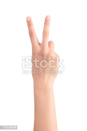 istock Woman hand showing two fingers 178708506