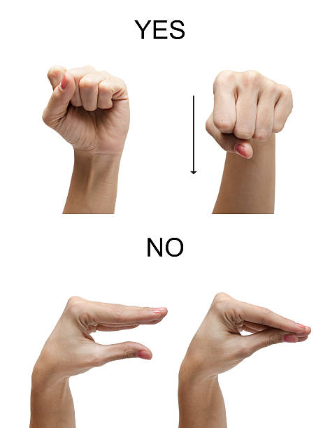 Woman hand sign NO YES ASL american sign language stock photo