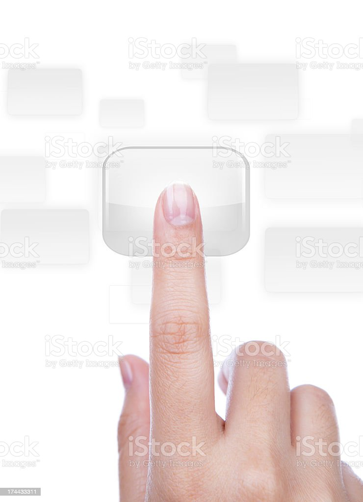 Woman hand  simulating pressing a button royalty-free stock photo