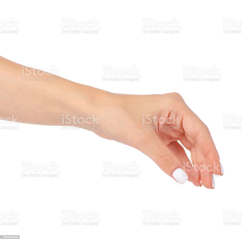 Hand der Frau etwas nehmen – Foto