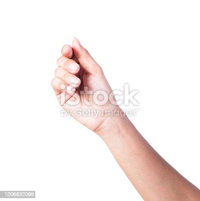 woman hand to holding credit card, blank paper or other on white background