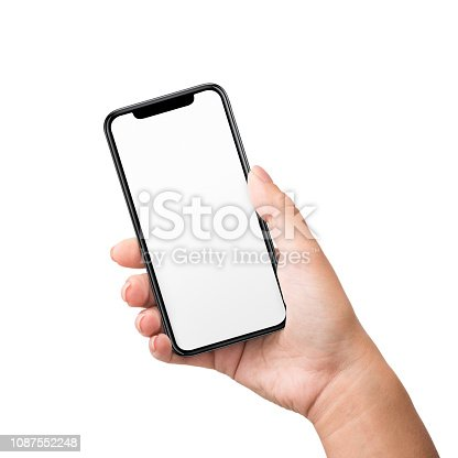 1084491176 istock photo Woman hand touching mobile phone screen with her thumb 1087552248