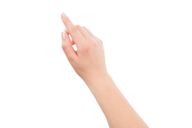 Woman hand touching or pointing to something stock photo