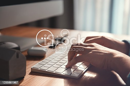 Woman hand typing on keyboard laptop with mobile smartphone, Live Chat Chatting on application Communication Digital Web and social network Concept