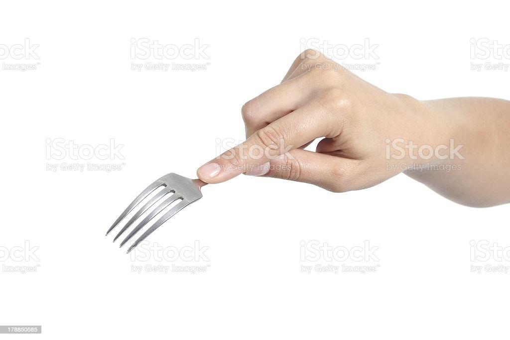 Woman hand using a fork royalty-free stock photo