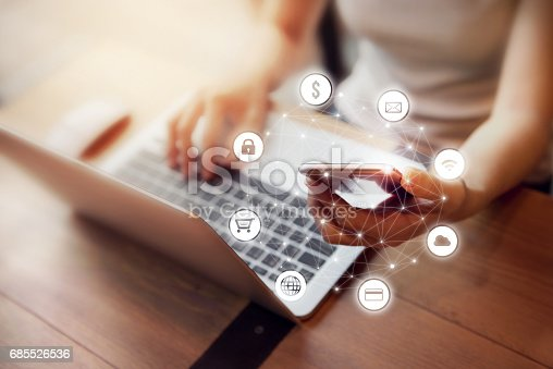 613672992 istock photo Woman hand using mobile payments online shopping 685526536