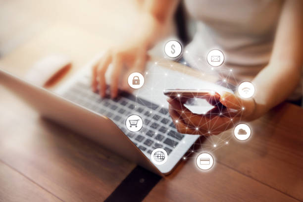 Woman hand using mobile payments online shopping Woman hand using mobile and laptop payments online shopping and icon infographic customer network buy single word stock pictures, royalty-free photos & images