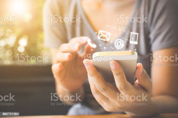 Woman hand using smart phone contact us connection concept picture id885731084?b=1&k=6&m=885731084&s=612x612&h=kougom3 7oi2q3cur0ojsj2id4fj84evwmadujlhjga=