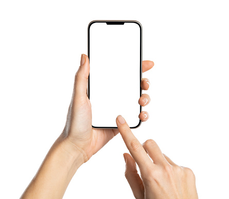 Female hands holding modern cellphone against white background. Close up of woman hands holding smart phone with blank screen in hand. Empty smartphone white screen ready for your app to be placed isolated on white background.