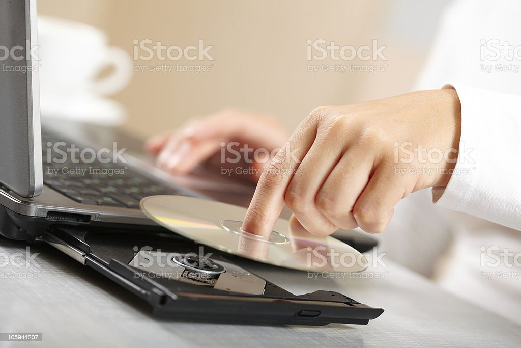 Woman hand with CD stock photo