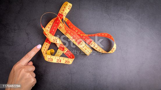 1184112328 istock photo Woman hand with measuring tape 1170452294