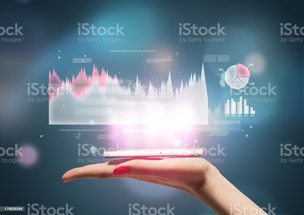 Woman hand with mobile phone on it stock photo