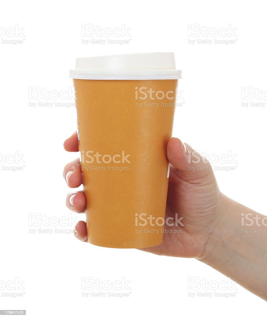 woman hand  with paper coffee cup stock photo