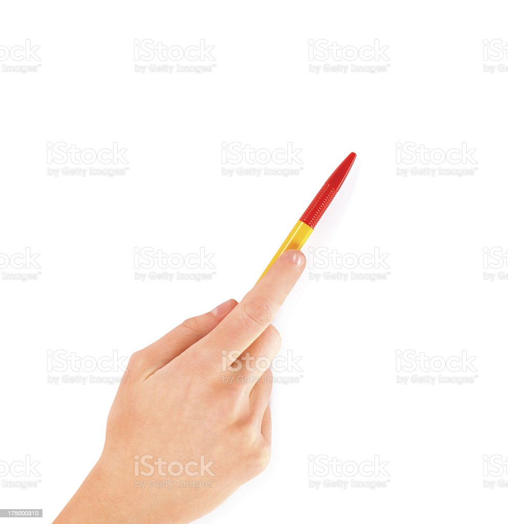 Woman hand with pen on white royalty-free stock photo