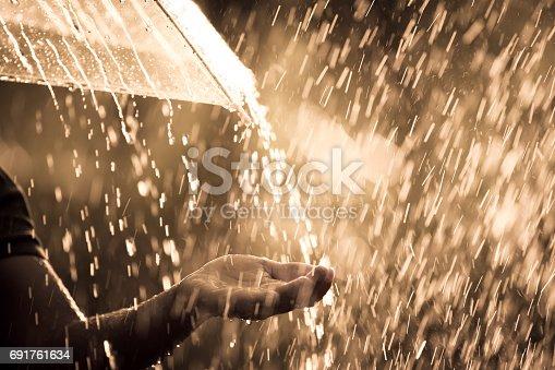 691761646istockphoto Woman hand with umbrella in the rain 691761634