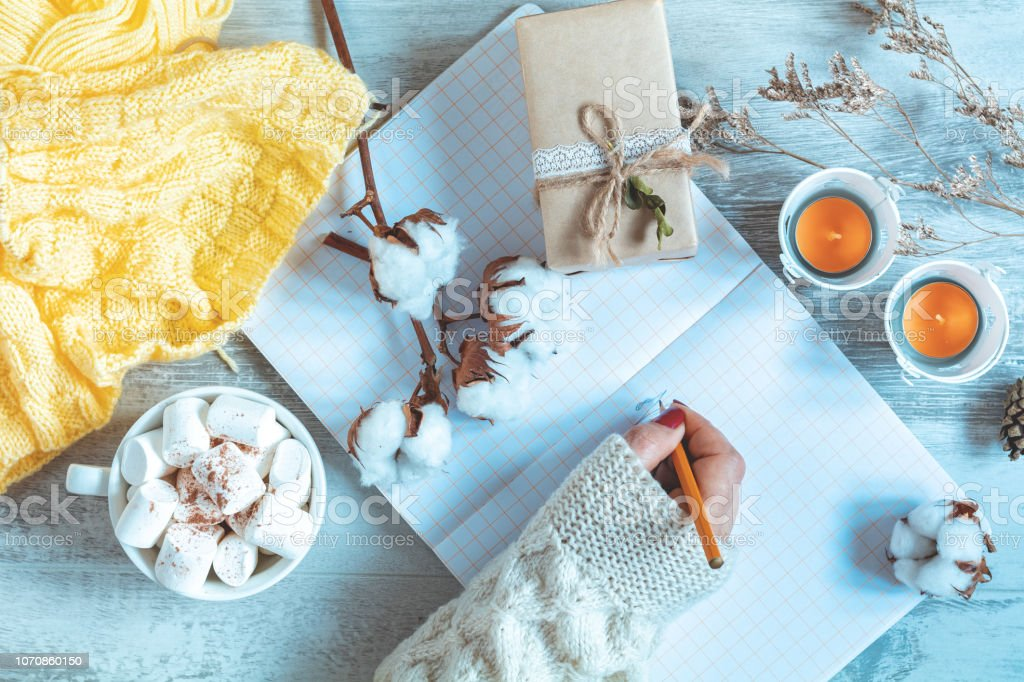 Woman hand writing in notepad, cup of coffee, dried rose and autumn leaf stock photo