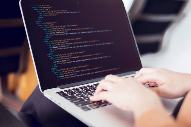 Woman hands coding html and programming on screen laptop, Web, developer. Closeup coding on screen, Woman hands coding html and programming on screen laptop, development web, developer. html stock pictures, royalty-free photos & images