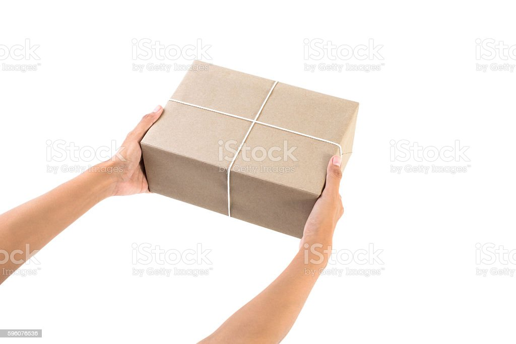 Woman hands delivery a parcel box stock photo