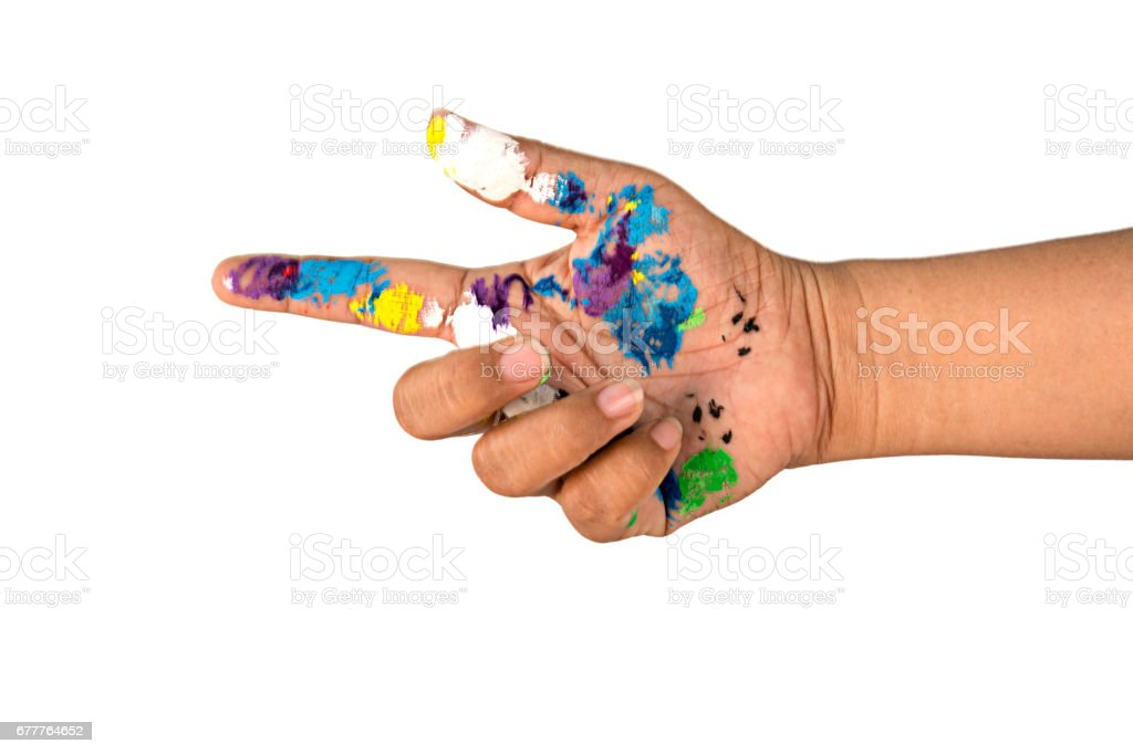 woman hands dirty with watercolours on white background. royalty-free stock photo