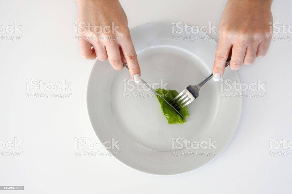 Mujer de las manos alimentación pieza de lechuga - foto de stock