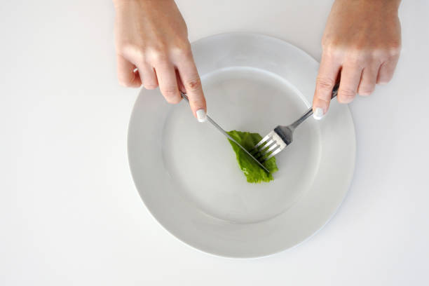 Woman hands eating piece of lettuce stock photo