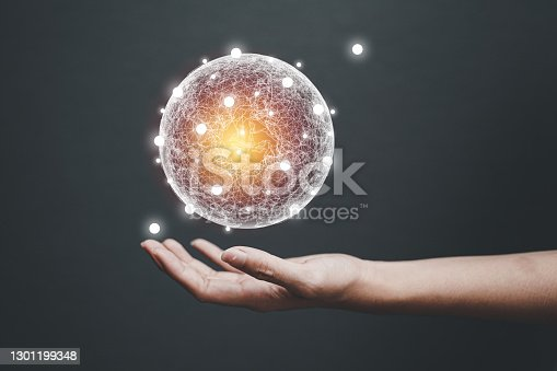 Woman hands holding global network connections and technology innovative in science and Vr communication concept.