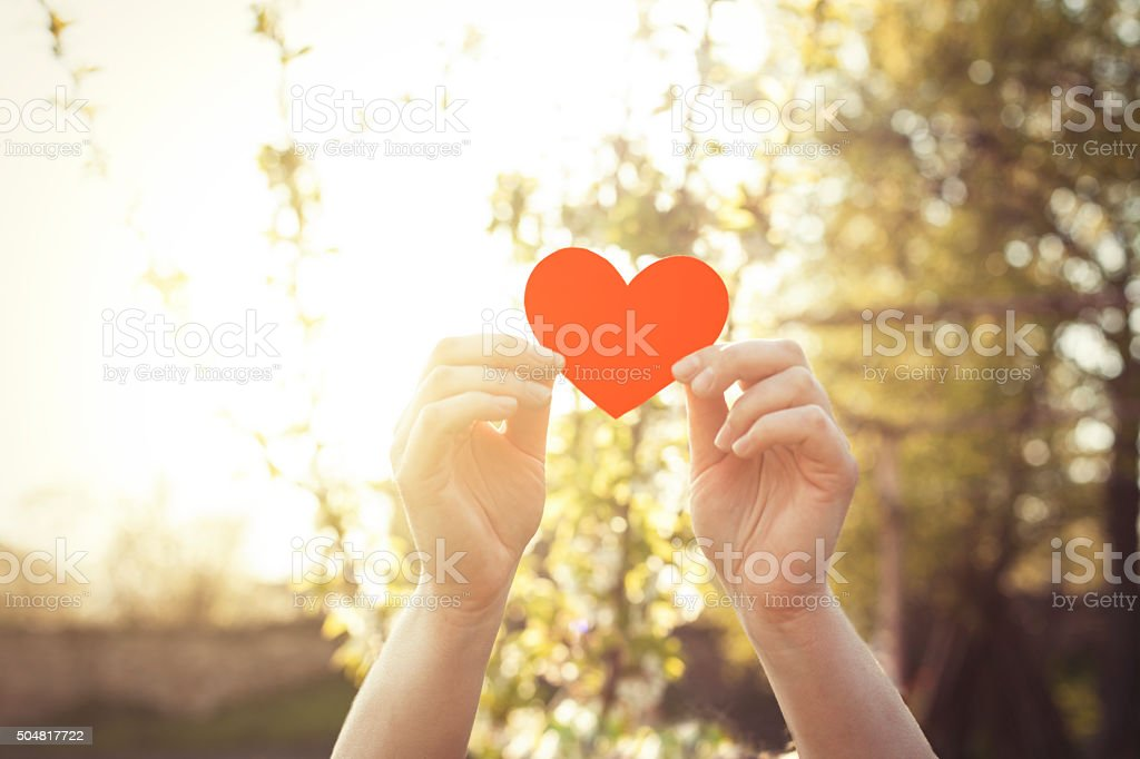Woman hands holding red heart stock photo