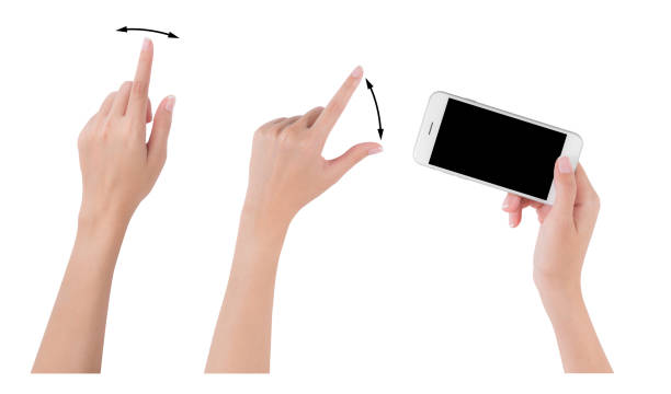 Woman hands holding smart phone with blank screen display, Collection of index finger and pinch fingers for touch or zoom, digital and communication concept, Isolated on white background stock photo