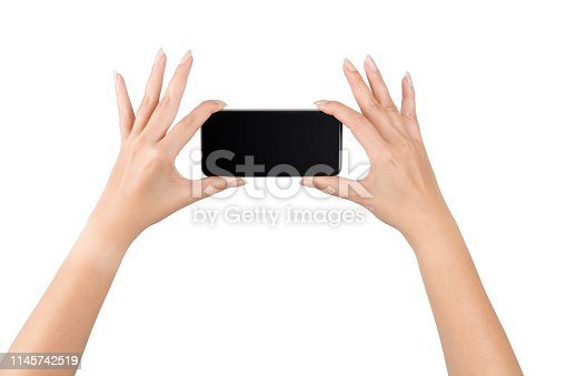 istock Woman hands holding tablet over isolate background concept smart 4.0 iot gadget app web wifi VOIP power up pad data job digital style chat plan ideas education devices 3g 4g 5g used look creativity 1145742519