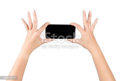 istock Woman hands holding tablet over isolate background concept smart 4.0 iot gadget app web wifi VOIP power up pad data job digital style chat plan ideas education devices 3g 4g 5g used look creativity 1146144727