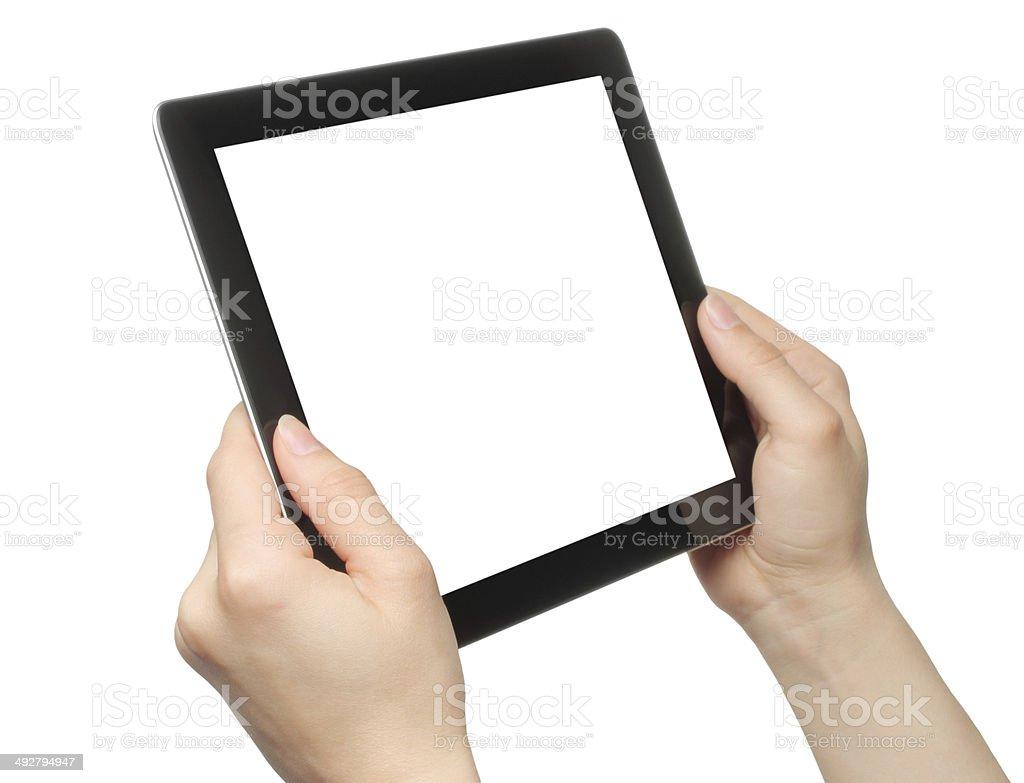Frau Hand holding tablet PC – Foto