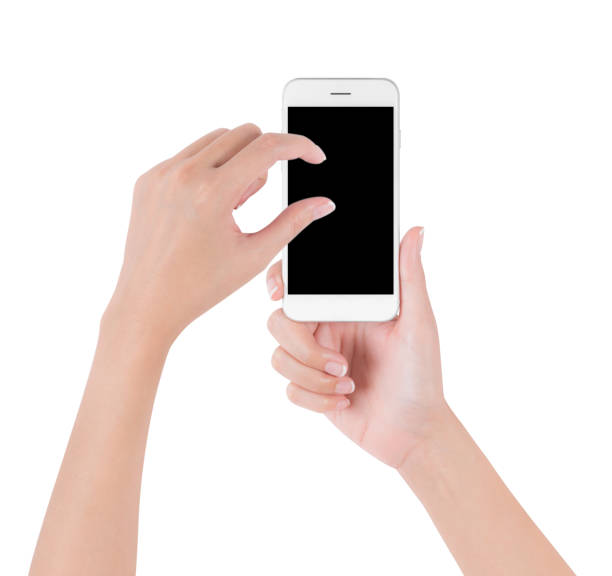 Woman hands holding white smart phone touch and pinch for zoom in or zoom out on blank screen display, digital and communication concept, Isolated on white background. stock photo