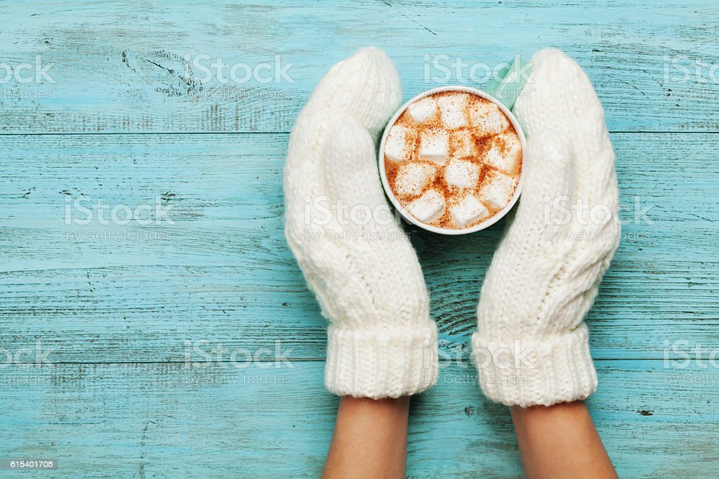Woman hands in mittens hold cup of cocoa or chocolate. stock photo