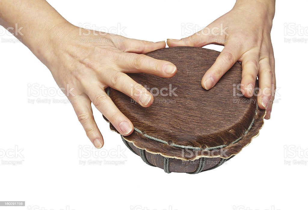 Woman hands is on drum royalty-free stock photo
