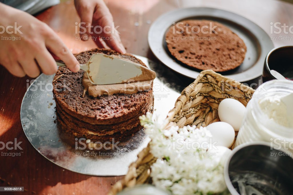 woman hands makeing cake stock photo