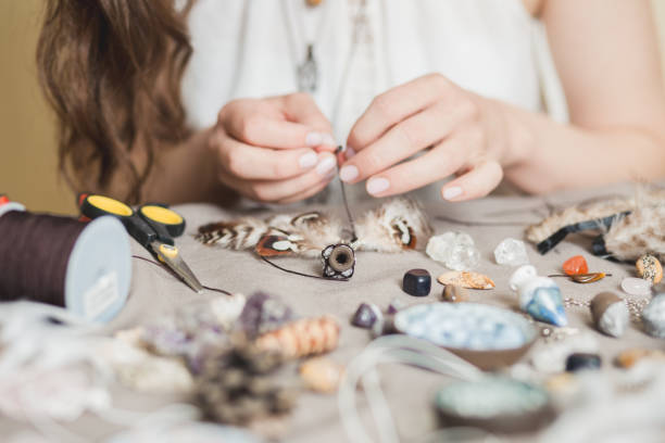 Woman hands making handmade gemstone jewelry, home workshop. Woman artisan creates jewelry. Art, hobby, handcraft concept Jewelry, Women, One Woman Only, Fashion Model, Only Women homemade stock pictures, royalty-free photos & images