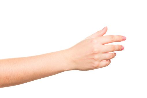 女性手に白背景 - 1人のストックフォトや画像を多数ご用意