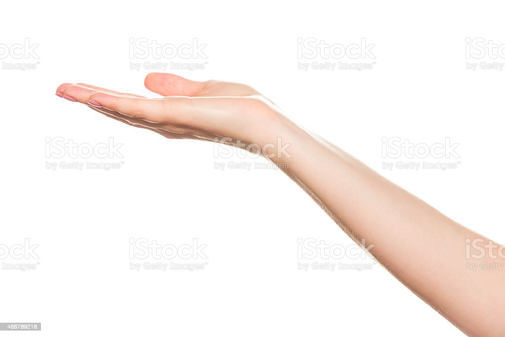 woman hands on white backgrounds stock photo