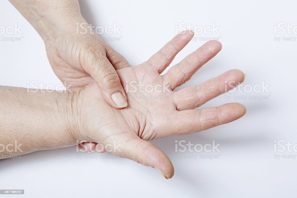 Woman hands over a white background stock photo