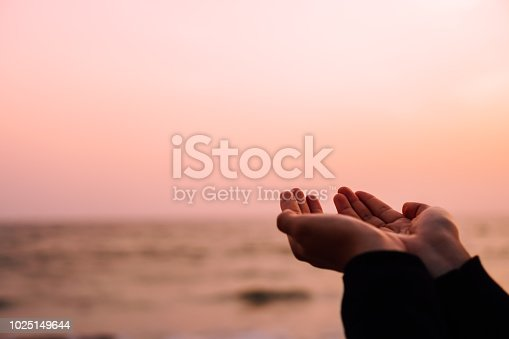 istock Woman hands place together like praying in front of nature green bokeh and blue sky  background. 1025149644