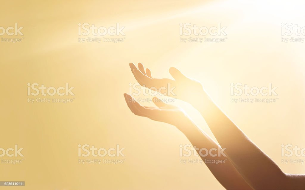 Woman hands praying for blessing from god on sunset background – Foto