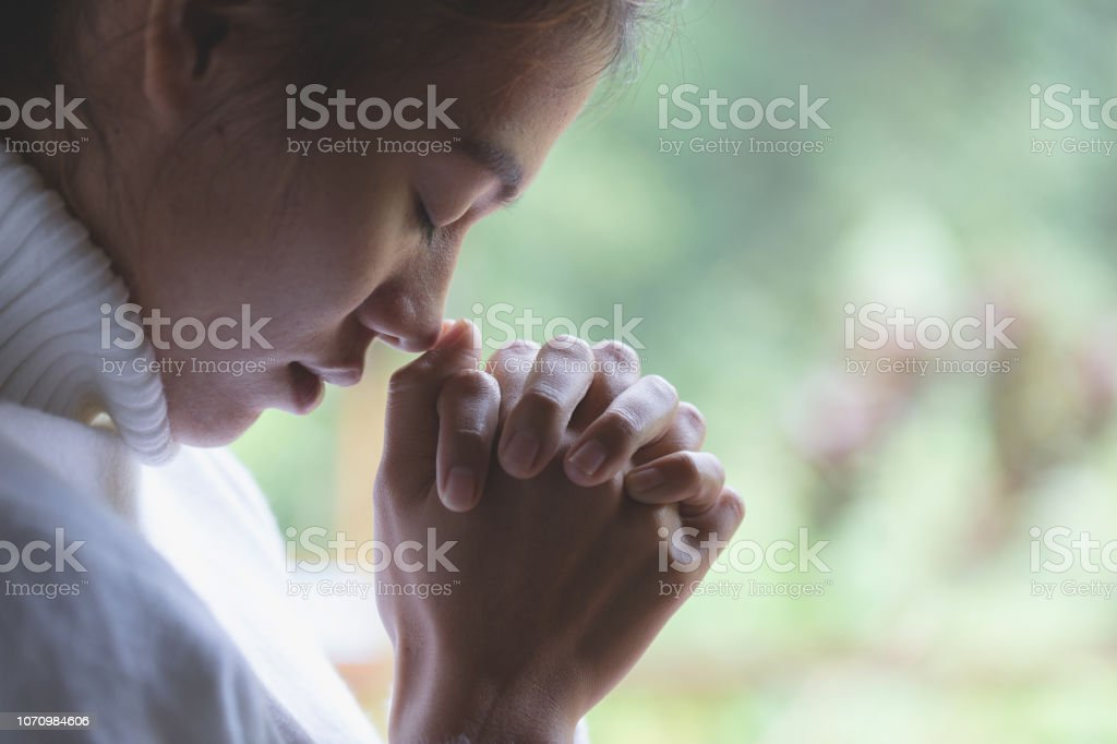 woman hands praying to god with the bible. Woman Pray for god...