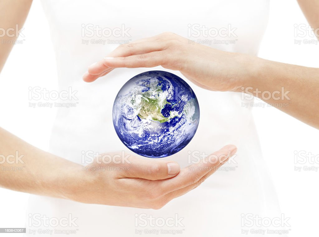 Woman Hands Protecting Earth royalty-free stock photo