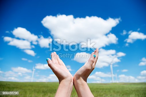 Woman hands raised up outdoors