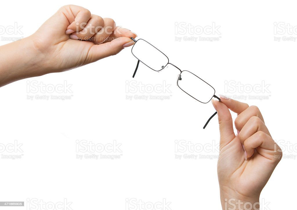 Woman hands showing glasses isolated royalty-free stock photo
