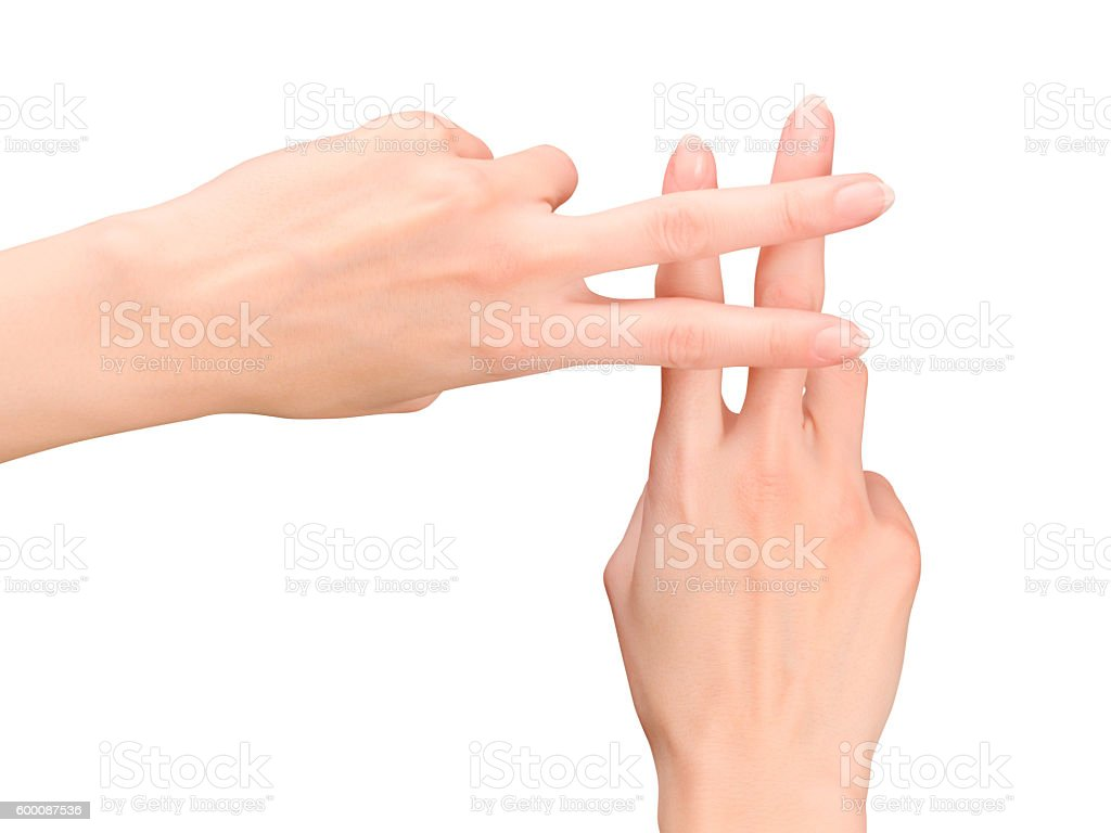 Woman hands showing hash symbol stock photo