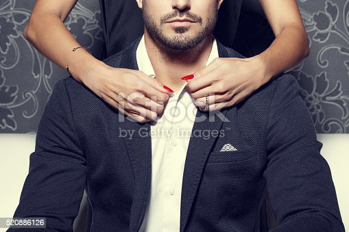 Woman Hands Undress Rich Man Stock Photo  More Pictures -2534