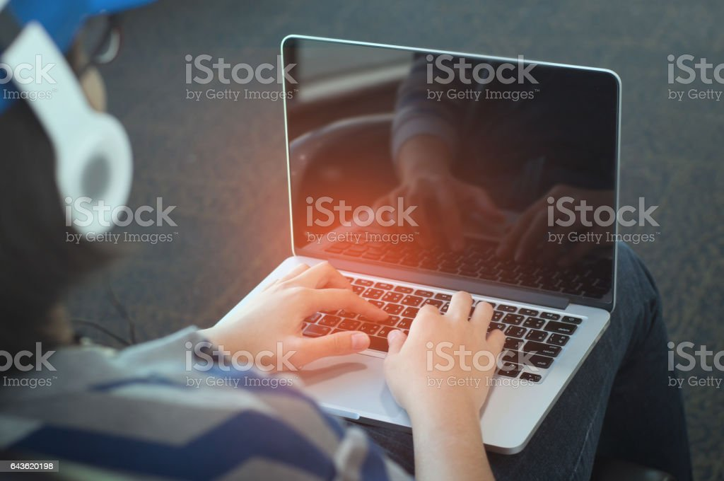 Woman hands using laptop for working. stock photo
