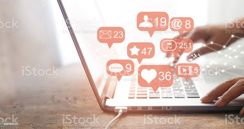Woman hands using social network with laptop, Social media and connection communication concept. stock photo