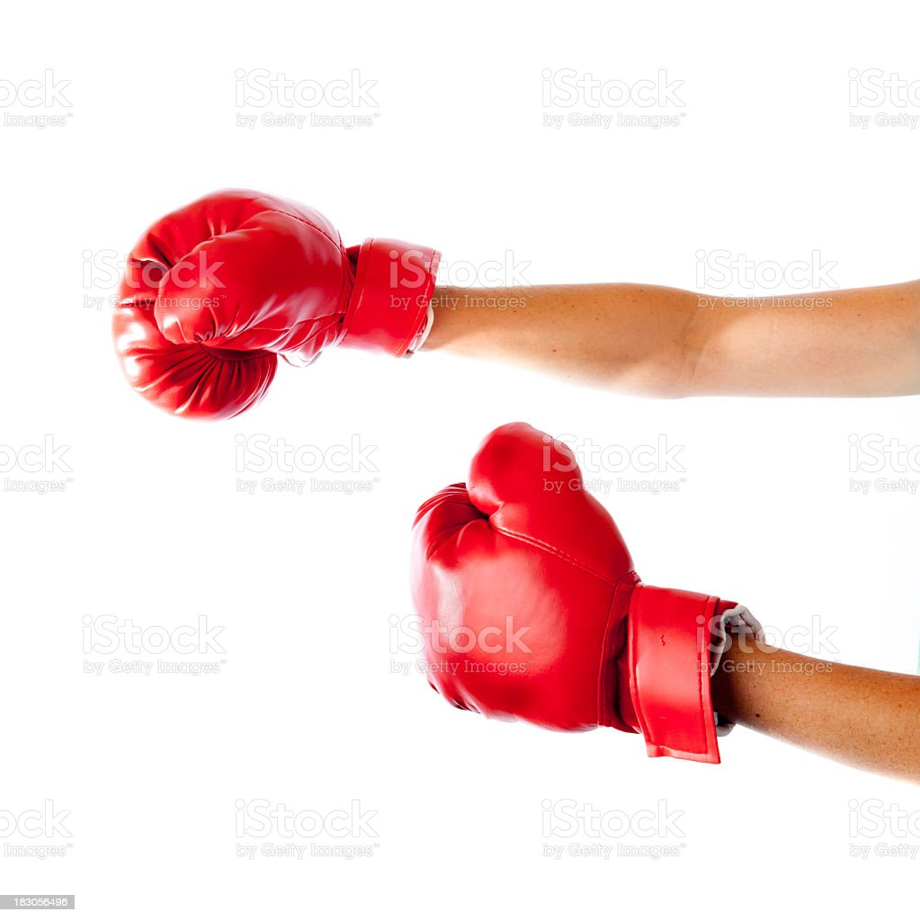 Woman hands with boxing gloves on white background royalty-free stock photo
